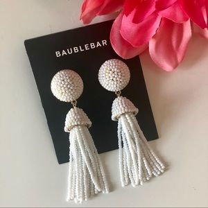 NWT - BaubleBar White Beaded Tassel Earrings